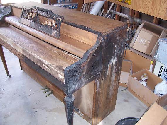 Piano Case Scorched by the Flames - the Internal Components Were Protected
