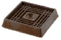 Square Rubber Caster Cups - 2 inch x 2 inch - Set of 4