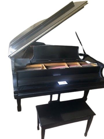 Steinway & Sons Model L Grand Piano - Full Lid Prop / Fallboard Closed View